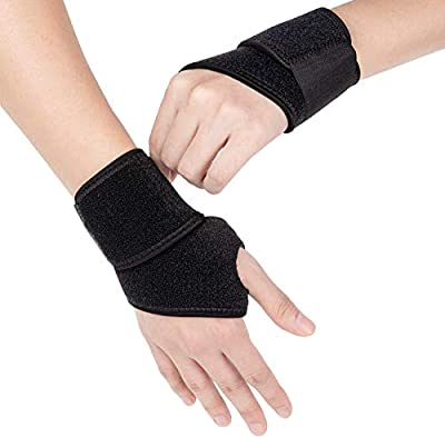 Adjustable Wrist Brace for Carpal Tunnel2 Pack, Future Way Wrist Support Right and Left Hand for Men and Women, Wrist Compression Wrap for Working Out, Tendonitis, Arthritis - Black