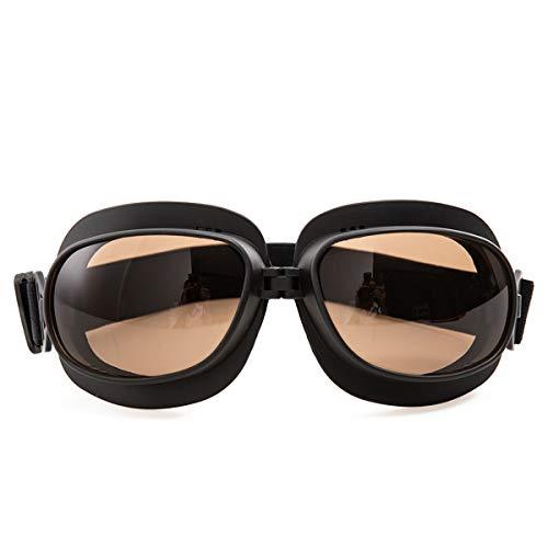 evomosa Vintage Motorradbrille Motorräder Brille für Motocross Offroad ATV Pilotenbrille Sportbrille Snowboard Fahrräder Brille (Schwarze A)