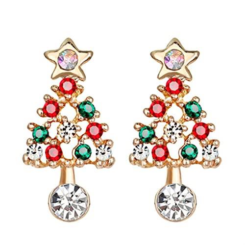 JUBEI 1 par de pendientes de aleación con forma de árbol de Navidad con diamantes de imitación, regalo para las mujeres, Navidad, Año Nuevo, decoraciones