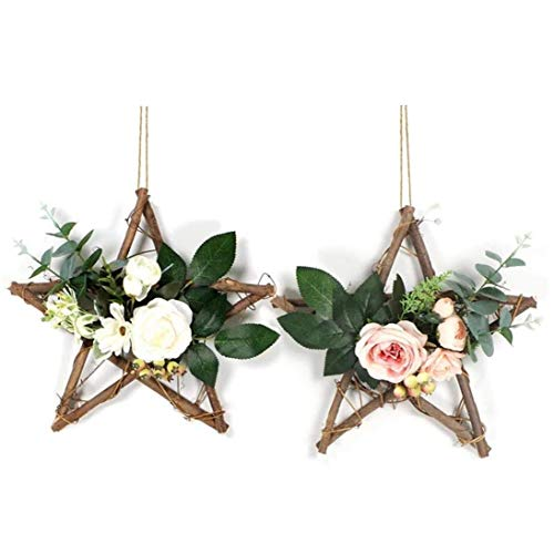 Flower Wreath Hanging Hoop Rose Garland Artificial Simulation Silk Leaves Star Base Vine Wedding Wall Decor 2pcs Room Decor