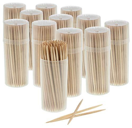 com-four® 1200x Zahnstocher aus Holz - Zahnhölzer für den täglichen Gebrauch - Toothpicks in Spenderbox - hölzerne Zahnstecher - 6,5 cm (1200 Stück - Set1)