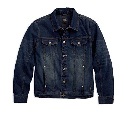 HARLEY-DAVIDSON Men's Brushed Denim Trucker Jacket, Slim Fit Blue 97445-18VM (S)