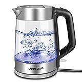 UBEGOOD Glas Wasserkocher, 1.8 Liter Wasserkoch Edelstahl 2000 Watt Elektrischer Wasserkessel...