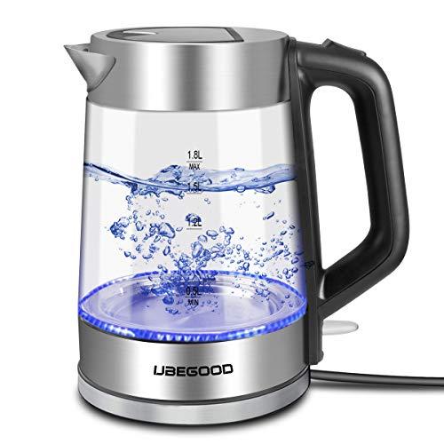 UBEGOOD Wasserkocher, 1.8 Liter Edelstahl LED Beleuchtung Glaskessel Wasserkocher 2000W,Haben Auto-Off Eigenschaften und Wasserstandsanzeige Elektrischer Glaswasserkocher, mit Hitzebeständiger Griff