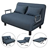 Auwish Futon Sofa Bed | Convertible Sofa Bed Sleeper Twin Size Folding Armchair Leisure Lounge Couch Futon Chairs Mattress Pad (Blue_Sofa Bed Twin Size)