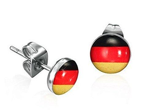 FUSSBALL Ohrstecker DEUTSCHLAND - Unisex 10 mm (Paar) Antiallergisch - Schwarz Rot Gold farbe Silber NS-537
