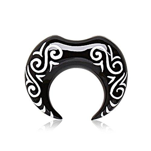 Generic 6mm Tribal Horn Logo Black Taper Ohrbahre