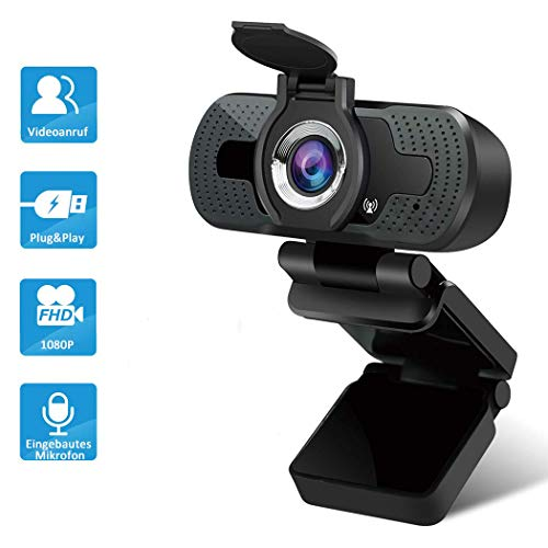 YESKAMO 1080P USB Webcam, Webcams mit Mikrofon und Objektivdeckel PC Laptop Desktop 30FPS reibungslose Videoanrufe für Live-Streaming, Gaming, Telefonieren und Konferenzen