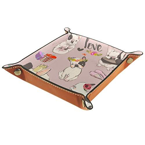 Caja de almacenamiento pequeña, bandeja de valet para hombre,perro amor corona ,Organizador de cuero para llaves de caja de monedas