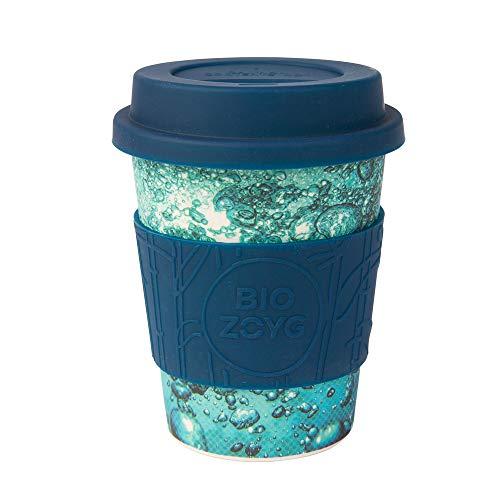 BIOZOYG Taza de café Ecológica I Taza térmica con Tapa y Agarre de Silicona I Café para Llevar Taza ecológica de bambú I Taza de café Hecha de Fibra de bambú Water 400 ml