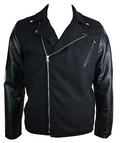 Hommes laine Brando style manches de la veste Real Cuir Rétro Vintage Noir Biker