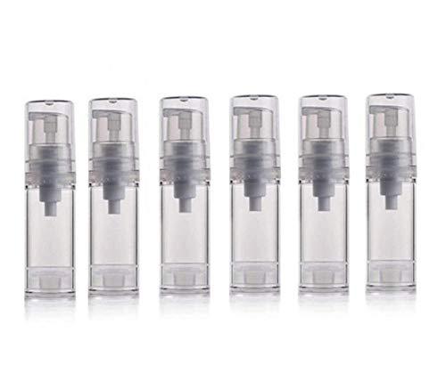 Lot de 6 flacons-pompes vides et rechargeables de 5/10/50 ml noirs - peut contenir des crèmes, lotions, maquillage, produits cosmétiques ou servir de bouteille de voyage, 5ml, 1