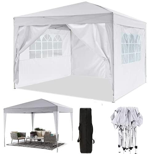 Oppikle Gazebo Pieghevole da 3m x 3m,Tenda da Giardino Pieghevole/Retrattile, Impermeabile, Rivestimento in PVC,Gazebo per Feste, Tour, Picnic (3x3m Bianco)