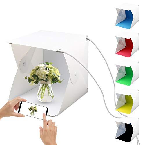 JOLIGAEA Mini Tragbares Fotostudio Schießzelt, 24 x 23 x 22 cm Kleine Faltbare LED Lichtbox, Softbox Kit mit 6 Farben Backdrops für Fotografie, Lichtzelt...