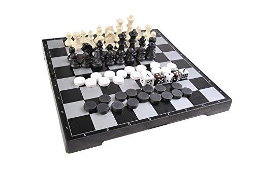 Quantum Abacus Magnetisches Brettspiel 3-in-1 (Premium Größe): Schach, Dame, Backgammon - magnetische Spielsteine, Spielbrett zusammenklappbar, 25cm x 25cm x 2cm, Mod. SC26810 (DE)