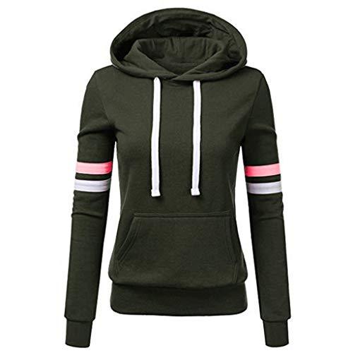 TOPKEAL Frauen Hoodie Pullover Damen Kapuzenpullover Streifen Sweatshirt Winterpullover Langarm Jacke mit Kapuze Tasche Mantel Tops Blouse Pulli (A_Grün, L)