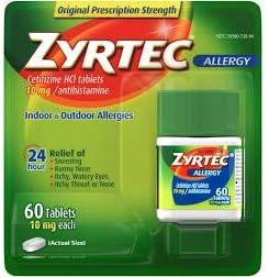 Zyrtec 24 Hour Allergy Relief Tablets 10 mg Cetirizine HCl Antihistamine Allergy Medicine 60 product image