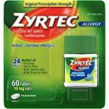 Zyrtec 24 Hour Allergy Relief Tablets, 10 mg Cetirizine HCl Antihistamine Allergy Medicine 60 ct
