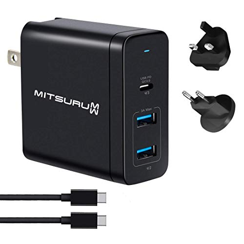 Mitsuru® 60W USB C Multi Port PD QC 3.0 Laptop Netzteil AC Adapter Ladegerät kompatibel mit Apple MacBook 13