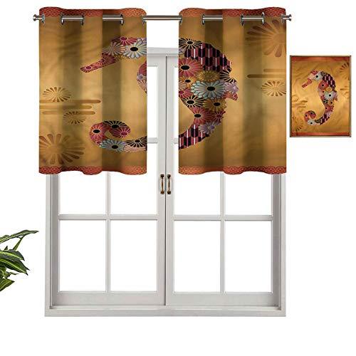 Hiiiman Cortinas opacas con aislamiento térmico y ojales cortos, diseño de caballito de mar ornamentado floral, juego de 2, 137 x 91 cm, cenefas pequeñas de media ventana para dormitorio