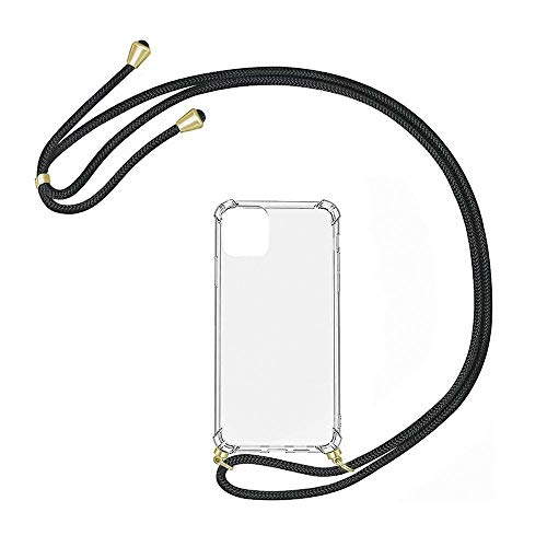 klocktec Silikon Hülle mit Band Handy Tasche Umhängetasche Handy Kette Hülle Case Cover mit Kordel TPU Silikonhülle Cover Case klar Samsung Galaxy A21s Transparent