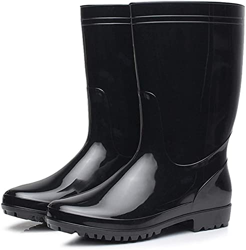 GJJSZ Botas de Lluvia Botas de Lluvia para Hombre Botas de PVC Negras Antideslizantes Impermeables Adultos Botas de Goma de Trabajo al Aire Libre Botas (Color : Black, Size : 39 EU)
