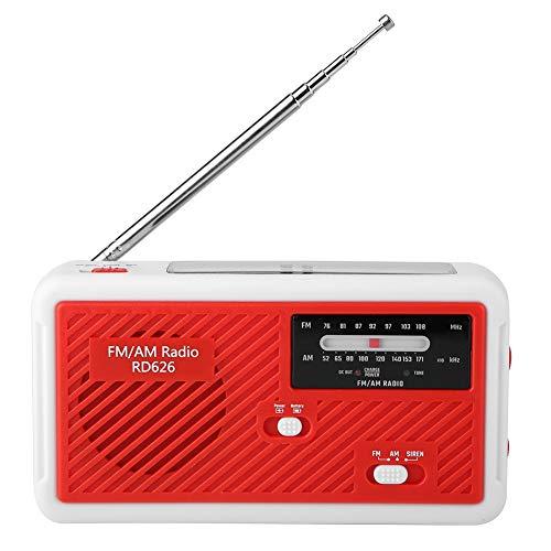 Garsentx Radio Solar, Radio de manivela Solar de Emergencia Am/FM Multifuncional con Linterna LED para usos en Exteriores y emergencias.(Rojo)