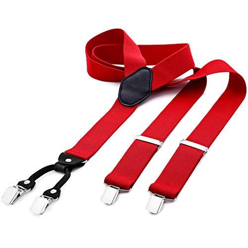 DonDon® Herren Hosenträger breit 3,5 cm – 4 Clips mit Leder in Y-Form – elastisch und längenverstellbar rot