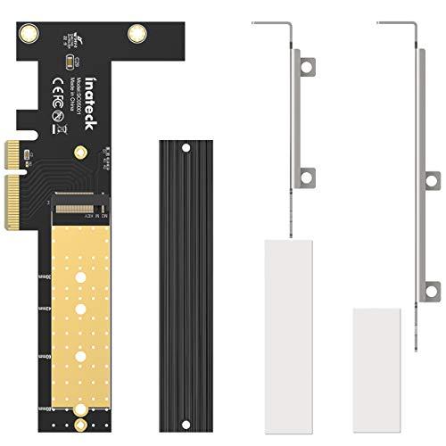 Inateck M.2 PCIe Adapter, PCIe x4 zu M.2 SSD NVMe Karte mit Kühlkörper und flachem Profil, Unterstützt Größen 2280/2260/2242/2230, SC05001