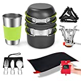 Odoland 9pcs Camping Cookware Mess Kit with Pocket Picnic Blanket, Non-Stick Lightweight Pot Pan Set with Stainless Steel Cups Forks Knives Spoons for Camping, Backpacking, Outdoor Cooking and Picnic
