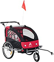Aosom Elite 360 Swivel 2-in-1 Double Child Two-Wheel Bicycle Cargo Trailer and Jogger with 2 Safety Harnesses, Red