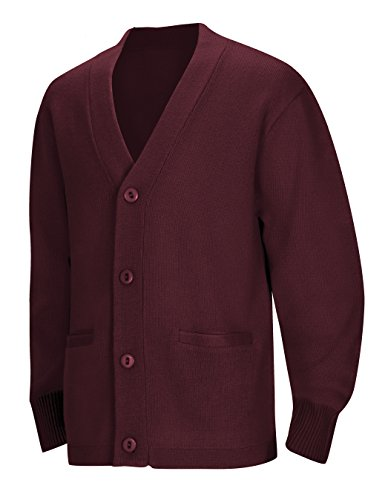 Classroom School Uniforms Men's Adult Unisex Cardigan Sweater, Burgundy, X-Large