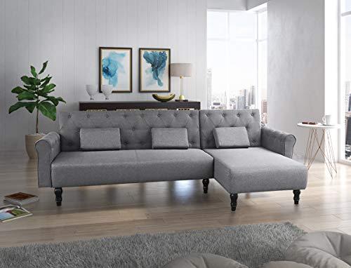 Divano chaise longue Chester 267cm, convertibile in letto, reversibile, grigio.