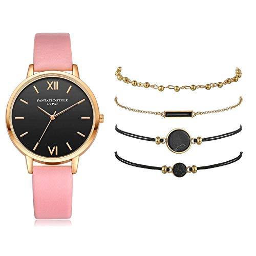 yuge 5 piezas set top style moda mujeres lujo cuero correa analógico cuarzo reloj señoras reloj mujeres vestido negro rosa 5 piezas conjunto