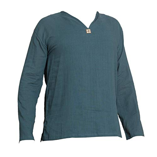 PANASIAM Shirt, K\', NoButton, petrolblue, L, longsl.