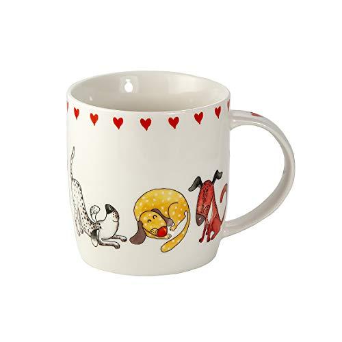 Tasse Hund Kaffeetasse Teetasse Kaffeebecher mit Hunde und Herz motiv Geschenk für Hundebesitzer Hundeliebhaber Frauen Männer