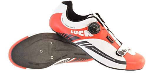 LUCK Zapatillas de Ciclismo para Carretera Plus, con Suela de Carbono y Sistema rotativo de precisión. (44 EU, Rojo)