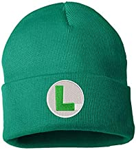 TOP LEVEL APPAREL Super Mario Themed Logo Embroidered Low Profile Soft Crown Unisex Beanie Green