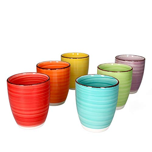 MamboCat Uni 6-er Kaffee-Becher-Set bunt I Steingut-Tasse mit Strudel-Dekor in 6 Farben I Jumbo-Tee-Tasse - Tea & Coffee Mug I 350ml Kaffee-Tassen-Set 6 St. I gelb, rot, orange, grasgrün, lila, türkis