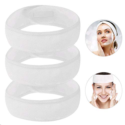 FOGAWA 3PCS DiademaMaquillaje Pelo DiademadeSpa Ajustable CintadeCabezaMujer para Pelo Maquillaje Terry Bañarse Yoga Deportes 60 x 8.5 x 0.5cm Blanco
