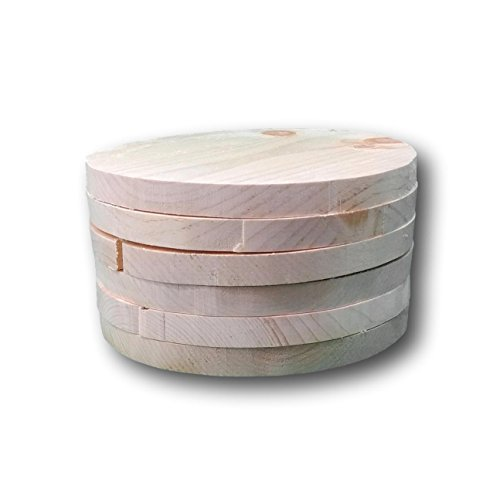 """Wood Rounds (set of 6) Made in USA, for craft projects, wood burning, painting, kids crafts, sustainable eastern white pine, unfinished all natural wood. 9"""" by 3/4"""" thick"""