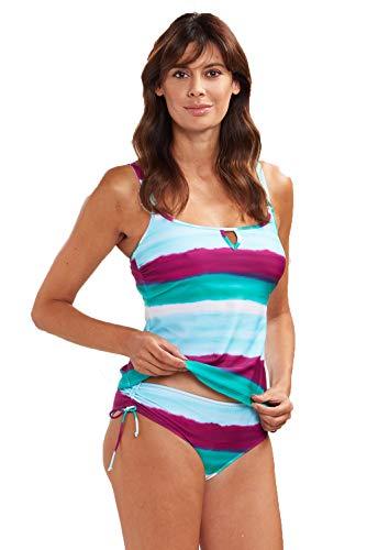 Rösch Tankini Damen zweiteilig bunt gestreift mit Aquarell Farbverlauf Tankini mit Slip, Zweiteiler Bademode, Gr. 36-46, 1195532 42 C C Deep Ocean