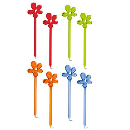Koziol de Fête piekser Kit A de de Pril, Plastique, Bleu Transparent, Olive, Orange, Rouge, 0,6 x 3 x 10.7 cm