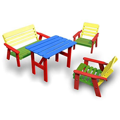 HolzFee Bunte Kinder-Sitzgruppe Garten Tisch Bank Stuhl Kindersitzgarnitur