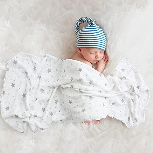 Mr.do® Manta de muselina para bebé, 120 x 120 cm, color gris, diseño de estrellas, bambú, algodón, para niños y niñas