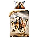 Horse Riding - Juego de cama, edredón con diseño de caballo marrón, para cama de 140x 200 cm, individual, 100% de algodón, ropa de cama