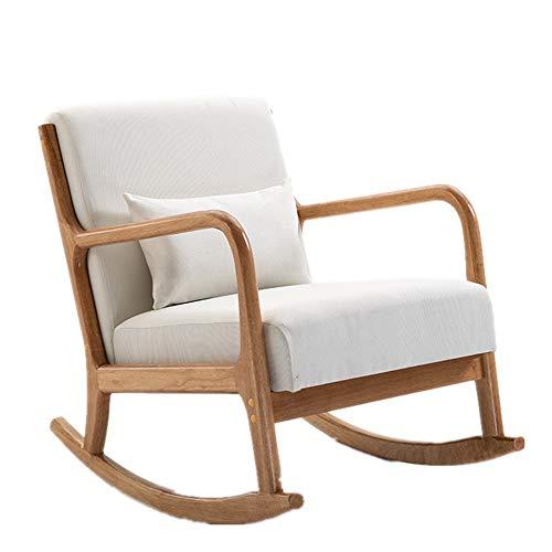 Dfghbn Chaises à Bascule Confortable Relax Rocking Chair Chaise Longue à la crème Tissu de Coton Coussin Accueil siège est décontracté et Confortable Relax-président bir