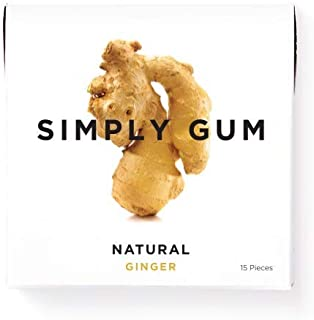 Simply Gum | Natural Chewing Gum | Ginger | Pack of Six (90 Pieces Total) | Plant-Based + Aspartame-Free + non-GMO