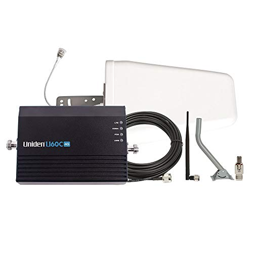 Uniden U60C 4G Home/Office Cellular Signal Booster Kit with Yagi Directional Antenna, Up to 1,500 Sq. Ft. Plus Free Surge Arrestor and Mounting Pole