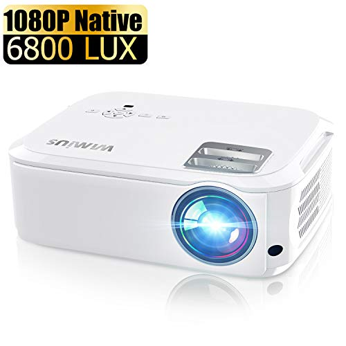 "Projector, WiMiUS P21 6000 Lumens Video Projector Native 1920×1080 LED Projector Support 4K Zoom 300"" Display 100,000H Lamp Compatible with Fire TV Stick Laptop Phone Xbox PS4 Power Point Presentation"